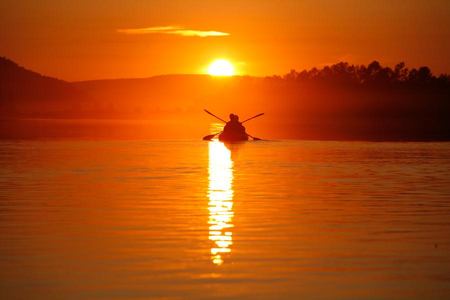 закат на реке Лена